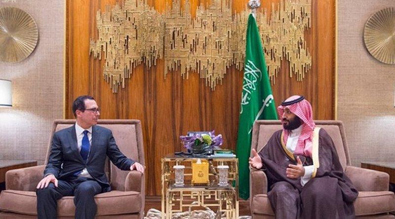 Saudi Arabia's Crown Prince Mohammed bin Salman with US Treasury Secretary Steven Mnuchin. Photo Credit: SPA