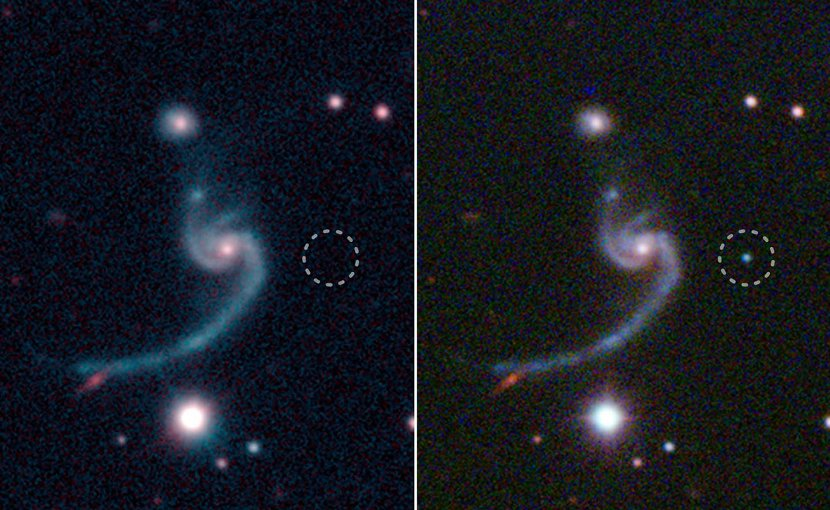 Left: Red and green composite image from the Sloan Digital Sky Survey (SDSS) taken before supernova iPTF14gqr. Right: Red/green/blue composite image from the Palomar 60-inch telescope taken on October 19, 2014, during supernova iPTF14gqr. The circles indicate the position of the supernova. Credit SDSS/Caltech