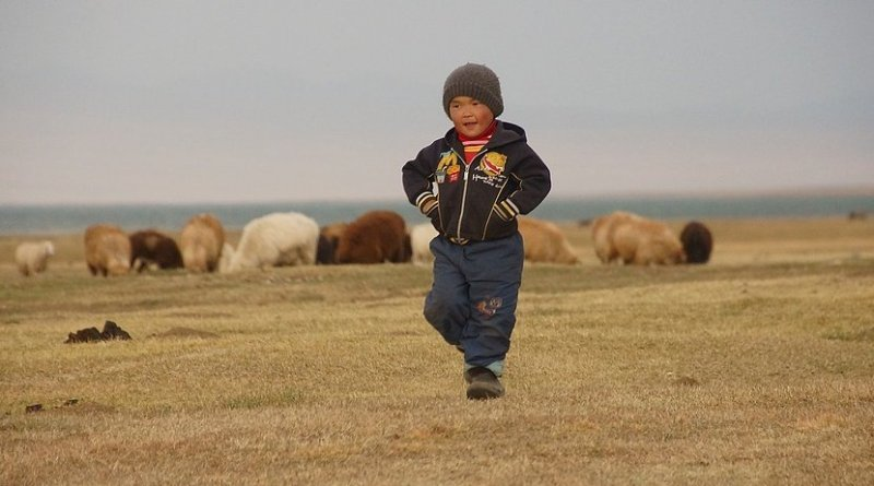 A young child in Kyrgyzstan