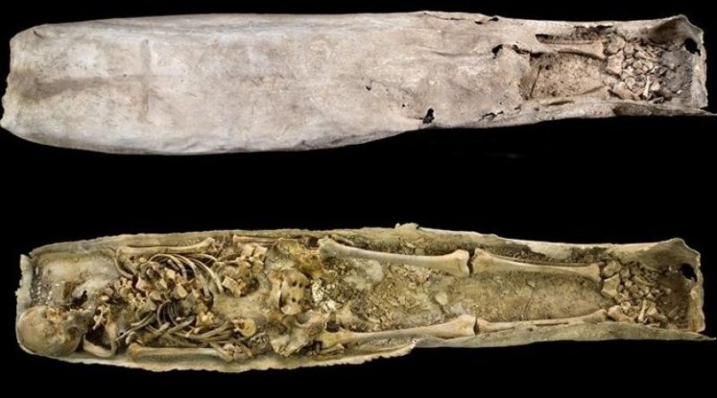 The inner lead casket of the Greyfriars medieval stone coffin. Credit: University of Leicester