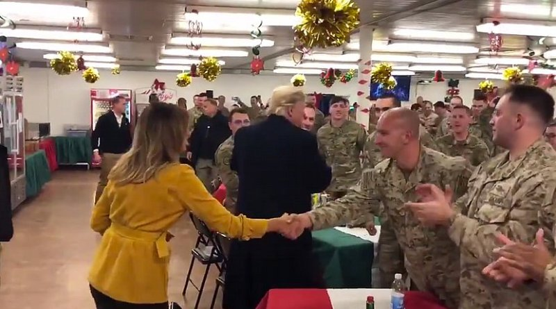 US President Donald Trump and first lady Melania Trump pay surprise visit to troops in Iraq. Photo Credit: Screenshot White House video
