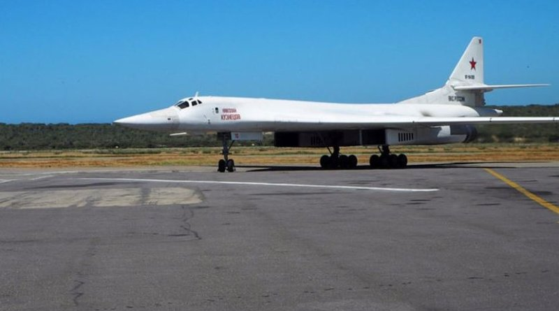 A Russian Tu-160 heavy strategic bomber on the tarmac in Maiquetia, Venezuela, on December 10. Photo Credit: Russia's Defense Ministry