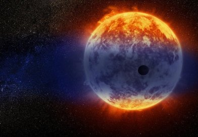 This artist's illustration shows a giant cloud of hydrogen streaming off a warm, Neptune-sized planet just 97 light-years from Earth. The exoplanet is tiny compared to its star, a red dwarf named GJ 3470. The star's intense radiation is heating the hydrogen in the planet's upper atmosphere to a point where it escapes into space. The alien world is losing hydrogen at a rate 100 times faster than a previously observed warm Neptune whose atmosphere is also evaporating away. Credit NASA, ESA, and D. Player/STScI
