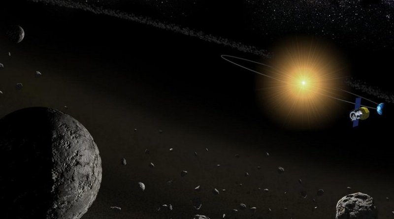 By using a space-borne telescope, the team was able to successfully detect the presence of water in many asteroids. Credit Kobe University