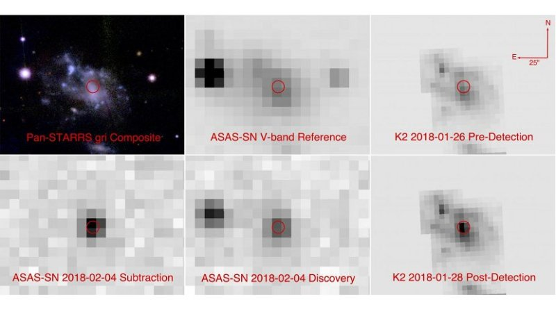 Six images showing the host galaxy of the newly discovered supernova ASASSN-18bt. The top row shows three images from before the explosion taken by Pan-STARRS, ASAS-SN, and Kepler. The bottom row shows images from ASAS-SN and Kepler after the supernova was visible. The discovery image from the ASAS-SN team is in the bottom middle. To its left is a version with all the surrounding stars eliminated, showing only the new supernova's light output. On the bottom right is a Kepler image from after the supernova was detected. Kepler's precision was crucial to understanding the light from ASASSN_18bt in the early hours after the explosion. Credit The All-Sky Automated Survey for Supernovae (ASAS-SN) project, the Panoramic Survey Telescope and Rapid Response System (Pan-STARRS), and the NASA Kepler space telescope