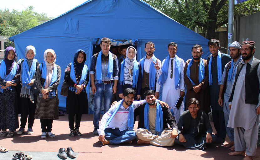 Afghan Peace Volunteers meet with members of the People's Peace Movement outside Kabul's U.K. embassy July 29 2018. photo credit: Dr. Hakim
