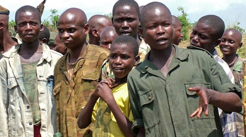 A group of demobilized child soldiers in the Democratic Republic of the Congo (2000-2007). Credit: Wikimedia Commons.