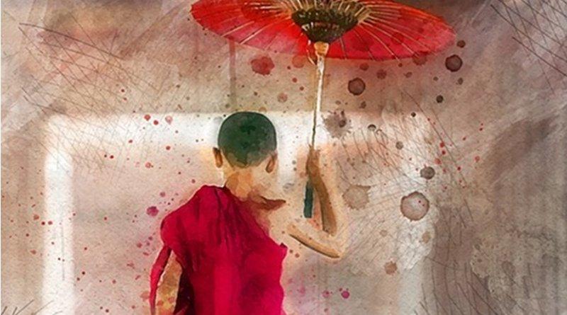 asia umbrella art painting