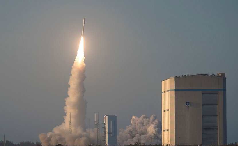 A United Launch Alliance Atlas V rocket launches from Launch Complex 41 at Cape Canaveral Air Force Station, Fla., April 14, 2018. The Evolved Expendable Launch Vehicle Secondary Payload Adapter Augmented Geosynchronous Laboratory Experiments system was onboard and is one of the 3rd Space Experimentation Squadron's primary missions. Air Force photo by Staff Sgt. Christopher Stoltz