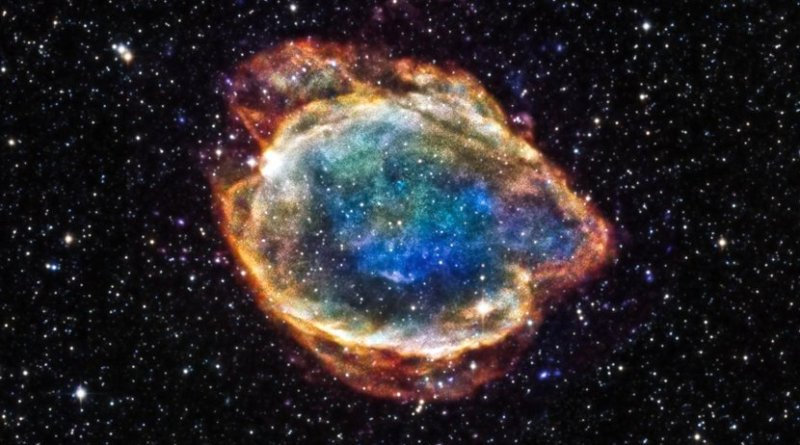 An X-ray/infrared composite image of G299, a Type Ia supernova remnant in the Milky Way Galaxy approximately 16,000 light years away. Source URL: http://chandra.harvard.edu/photo/2015/g299/ Credit NASA/Chandra X-ray Observatory/University of Texas/2MASS/University of Massachusetts/Caltech/NSF