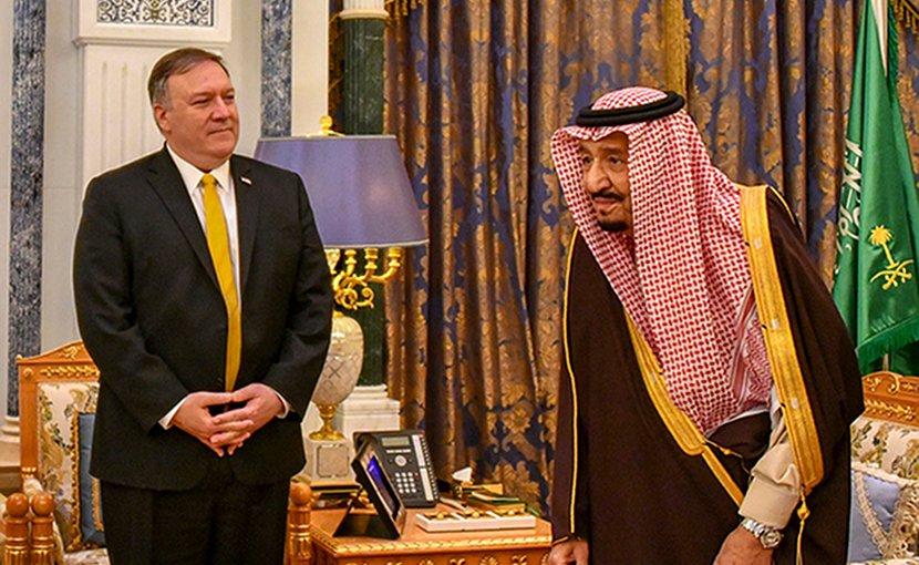 U.S. Secretary of State Michael R. Pompeo meets with Saudi King Salman bin Abdul-Aziz in Riyadh, Saudi Arabia, on January 14, 2019. Photo Credit: State Department photo
