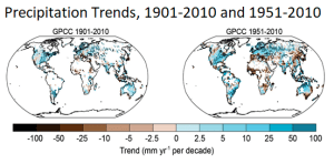 Wetter century: Maps detail observed precipitation changes per year over land from 1901 to 2010, left, and from 1951 to 2010, right, based on Global Precipitation Climatology Centre data sets