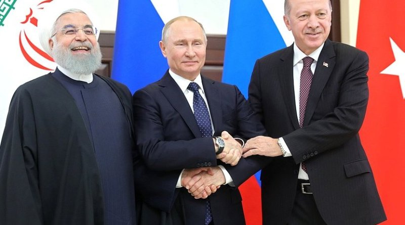 Russia's President Vladimir Putin with President of Iran Hassan Rouhani (left) and President of Turkey Recep Tayyip Erdogan. Photo Credit: Kremlin.ru