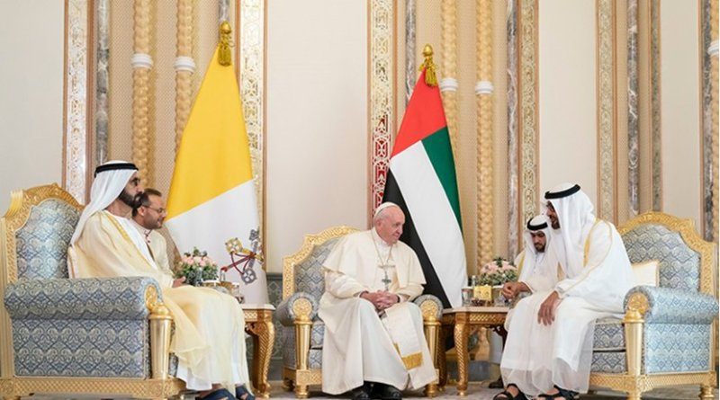His Highness Sheikh Mohammed bin Rashid, His Highness Sheikh Mohamed bin Zayed with Pope Francis. Photo Credt: UAE's Ministry of Foreign Affairs