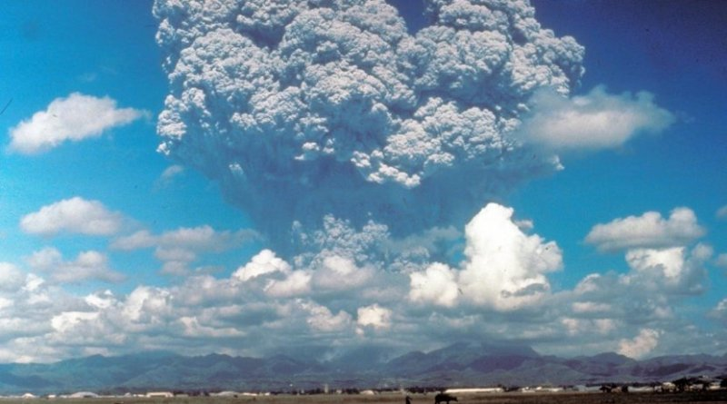 This photo, taken on June 12, 1991, shows the eruption column of Mount Pinatubo on Luzon Island in the Philippines. The eruption--the largest on Earth in the past 100 years--ejected particles into the stratosphere, more than 6 miles above the planet's surface. New research uses ice core data to rewrite the past 2,600 years of large stratospheric eruptions like this one. Credit Dave Harlow/USGS