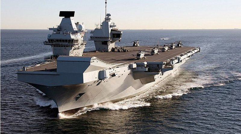 The Royal Navy's aircraft carrier HMS Queen Elizabeth. Photo Credit: Dave Jenkins - InfoGibraltar, Wikimedia Commons.