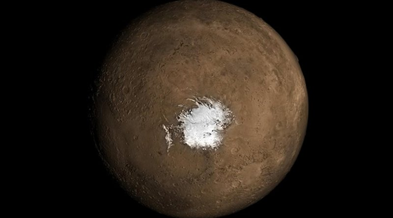 This is the Martian South Pole. A new study in Geophysical Research Letters argues there needs to be an underground source of heat for liquid water to exist underneath the polar ice cap. Credit NASA.