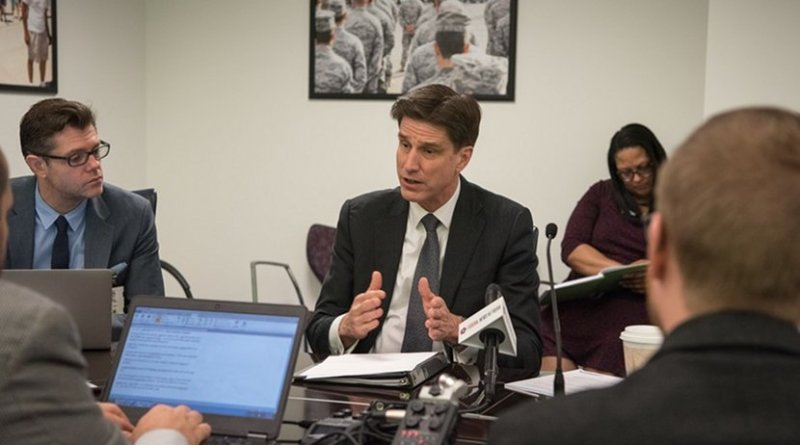Defense Department Chief Information Officer Dana Deasy and Air Force Lt. Gen. John N.T. Shanahan, the director of the Joint Artificial Intelligence Center, hold a roundtable meeting on DOD's artificial intelligence strategy at the Pentagon, Feb. 12, 2019. DOD photo by Army Sgt. Amber I. Smith