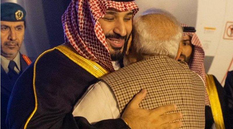 Saudi Arabia's Crown Prince Mohammed bin Salman is greeted by India's PM Narendra Modi. Photo Credit: SPA