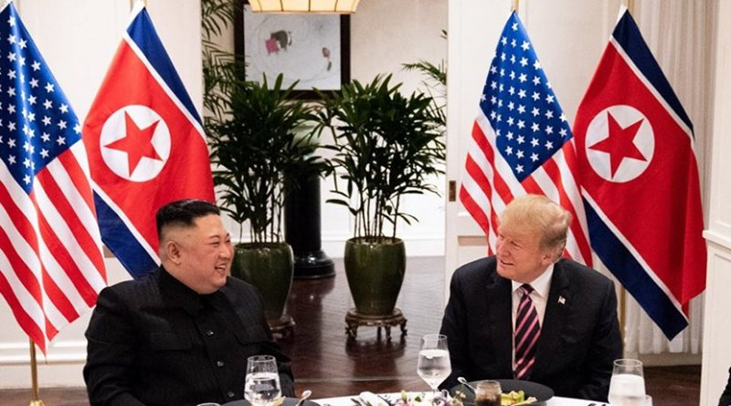 President Donald J. Trump and Kim Jong Un, Chairman of the State Affairs Commission of the Democratic People's Republic of Korea meet for a social dinner Wednesday, Feb. 27, 2019, at the Sofitel Legend Metropole hotel in Hanoi, for their second summit meeting. (Official White House Photo by Joyce N. Boghosian)