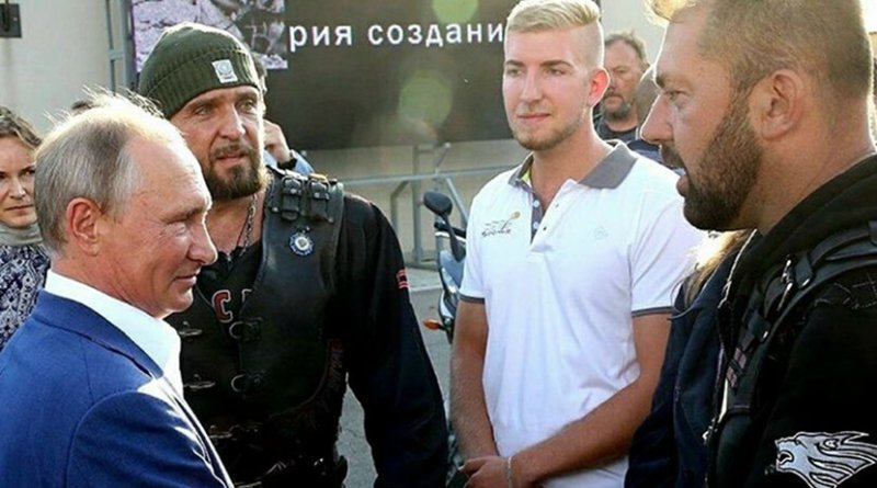 Russia's Vladimir Putin with members with the Night Wolves. Photo via Balkan Insight