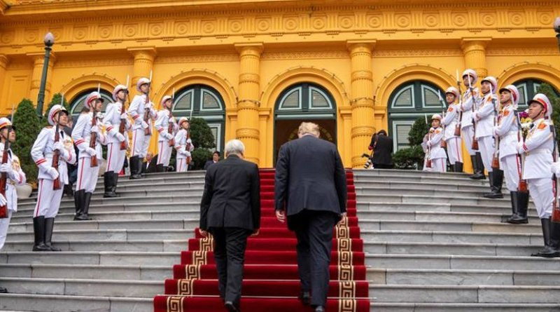 President Donald J. Trump walks up the stairs passing an Honors Cordon with Nguyen Phu Trong, General Secretary of the Communist Party and President of the Socialist Republic of Vietnam, on President Trump's arrival to the Presidential Palace Wednesday, Feb. 27, 2019, in Hanoi. (Official White House Photo by Shealah Craighead)