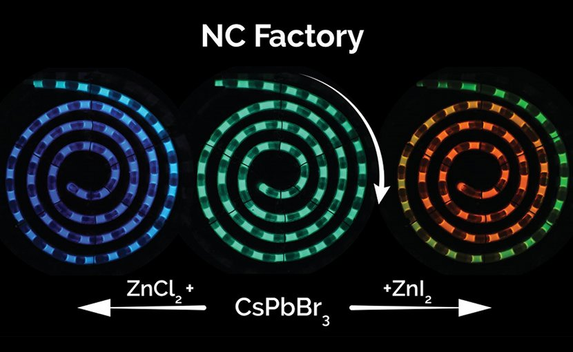 NC State researchers have developed a microfluidic system for synthesizing perovskite quantum dots that drastically reduces manufacturing costs, can be tuned on demand to any color and allows for real-time process monitoring to ensure quality control. Credit Milad Abolhasani, NC State University