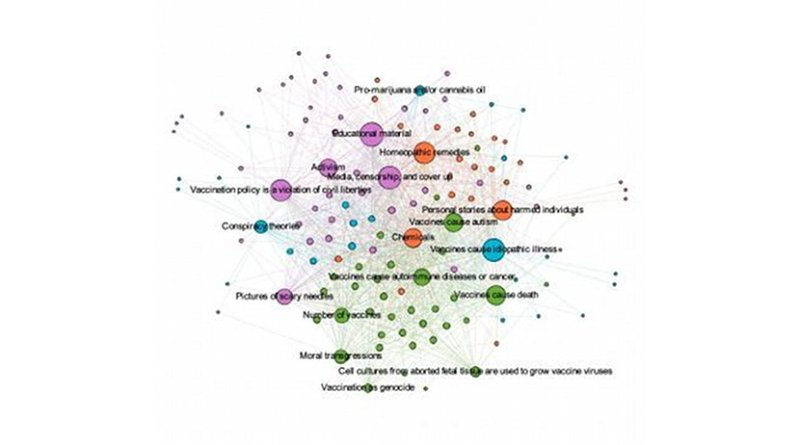 An analysis of Facebook profiles for people who posted anti-vaccination sentiments reveals four key subgroups that are interconnected by various themes. Credit Image appears with compliments from Elsevier