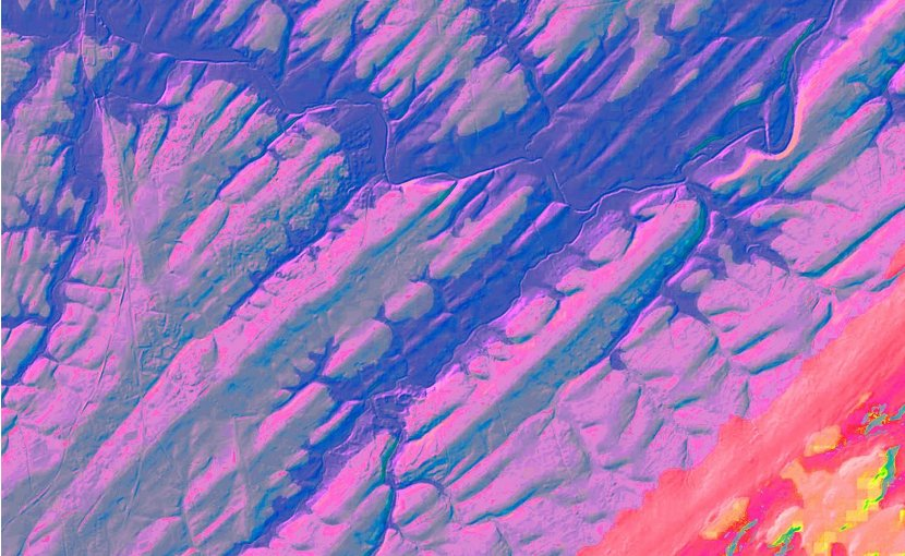 Digital elevation map of sediment strata formed on a lake bottom some 220 million years ago, near present day Flemington, N.J. The lakebed was later tilted so that its cross section now faces the sky. Purple sections are ridges -- remains of hard, compressed sediments formed when climate was wet and the lake deep; alternating greenish sections are lower areas made of eroded-out softer sediments from dryer times. Each pair represents 405,000 years. Groups of ridges in lower part of image manifest a separate 1.7 million-year cycle that has today grown to 2.4 million years. Thee 40-square-mile area is dissected by parts of the modern Raritan and Neshanic rivers (blue). Credit LIDAR image, US Geological Survey; digital colorization by Paul Olsen