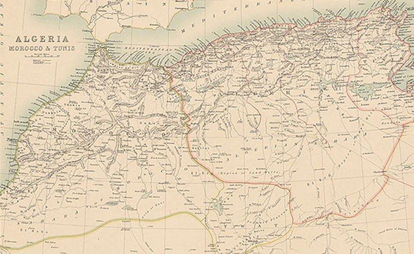 French North Africa: Algeria, Morocco & Tunis, Institut Cartogràfic de Catalunya, Wikipedia Commons.