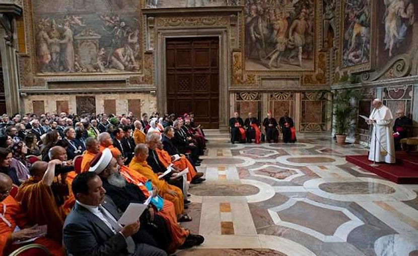 Pope Francis addresses participants in a conference on religions and the sustainable development goals, in the Vatican's Clementine Hall March 8, 2019. Credit: Vatican Media.