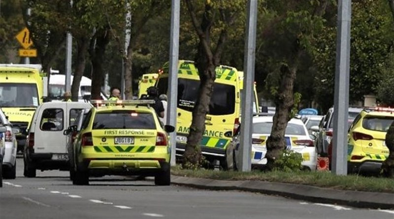 Emergency vehicles near mosque attacks in Christchurch, New Zealand. Photo Credit: Tasnim News Agency