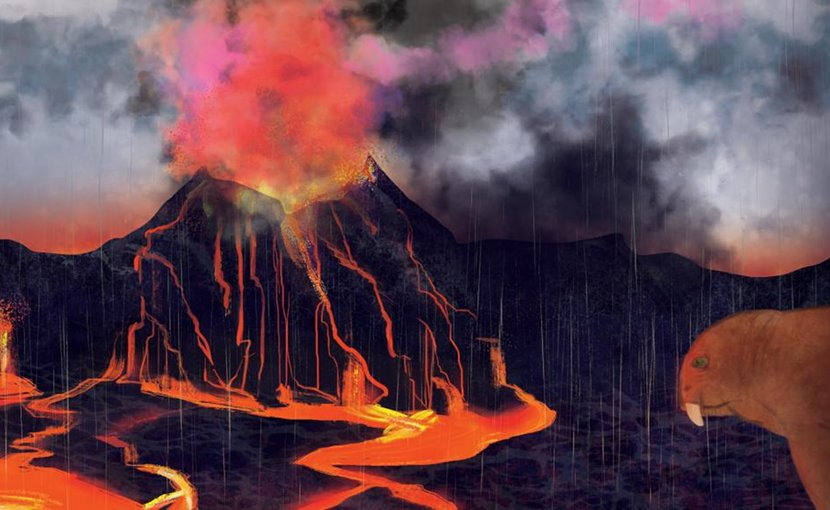 A volcanic eruption spells doom for a predatory gorgonopsid during the Permian Period. Credit Margaret Weiner/UC Creative Services