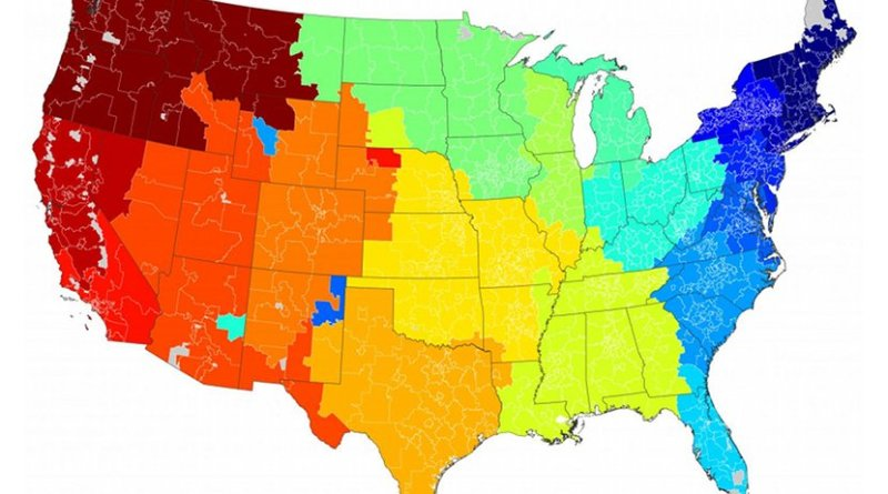 Online messaging communities for the lower 48 states. Colors represent clusters of reciprocal messages mapped to the three-digit zip codes of the senders. Credit Bruch and Newman/Sociological Science