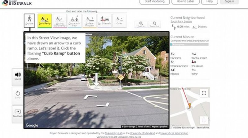 """Project Sidewalk uses an """"onboarding"""" process to teach players how to manipulate the map and about common accessibility issues. Credit University of Washington"""