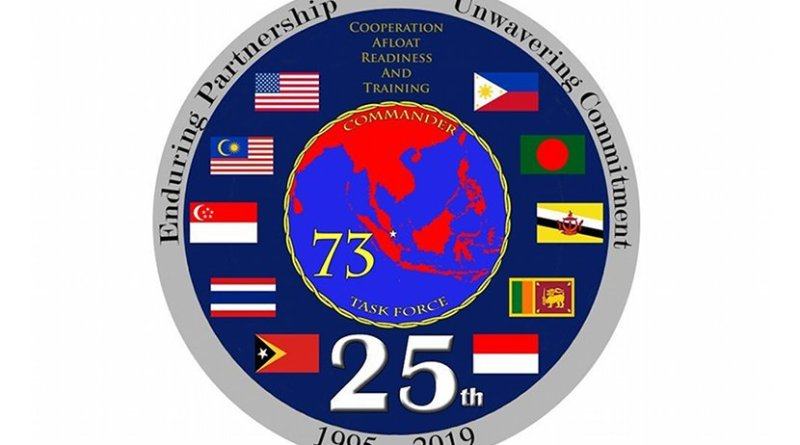 A logo commemorating 25 years of exercise Cooperation Afloat Readiness and Training. (U.S. Navy graphic by Mass Communication Specialist 2nd Class Christopher Veloicaza/Released)