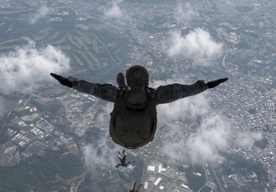 Airmen and Soldiers from Kadena Air Base perform high-altitude, low-opening jump off MC-130J Commando II above Okinawa, April 24, 2017 (U.S. Air Force/John Linzmeier)