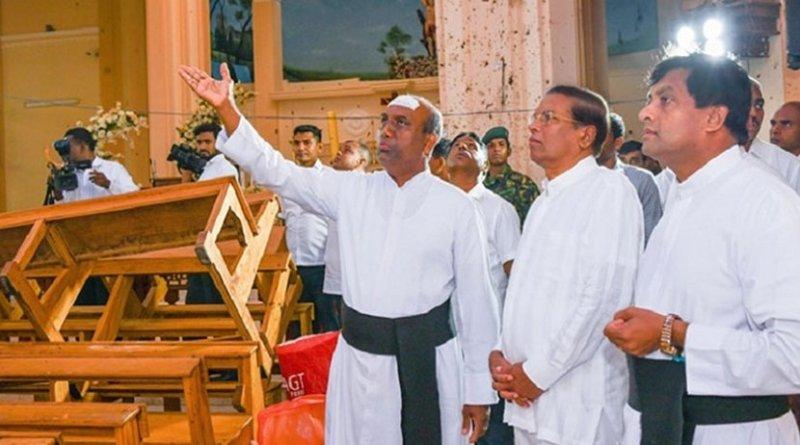 Sri Lanka's President Maithripala Sirisena visited the recently bombed St. Sebastian's Church. Photo Credit: Sri Lanka government