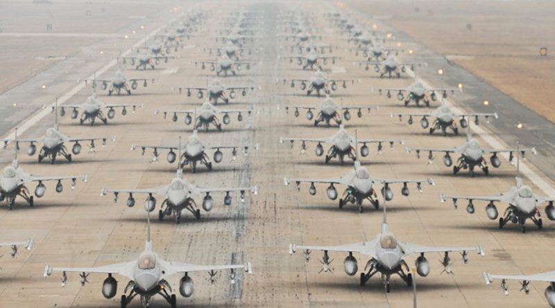 U.S. and South Korean F-16s demonstrate an 'Elephant Walk' at Kunsan Air Base. Photo Credit: Senior Airman Brittany Y. Auld, Wikipedia Commons.
