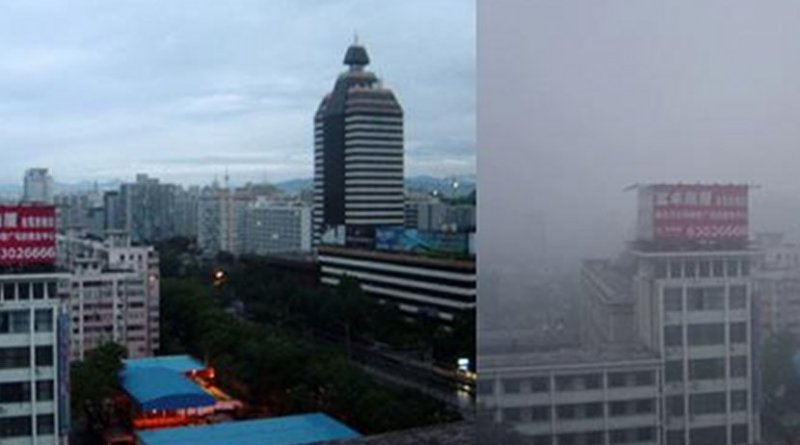 Heavy air pollution has resulted in widespread smog. These photographs, taken in August 2005, show the variations in Beijing's air quality. Credit Bobak Ha'Eri