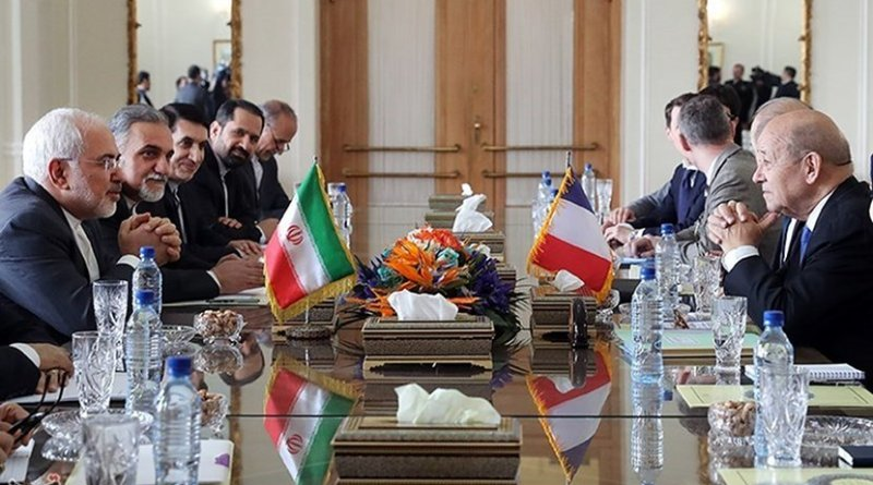 Iran Foreign Minister Mohammad Javad Zarif meets with France Minister of Europe and Foreign Affairs Jean-Yves Le Drian in Tehran. Photo Credit: Tasnim News Agency