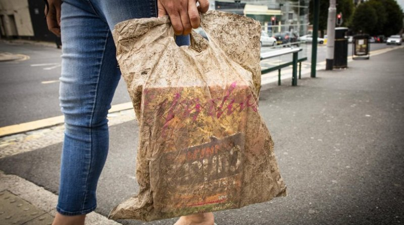 Plastic bags submerged in sea water for three years could still hold a full load of shopping. Credit Lloyd Russell, University of Plymouth