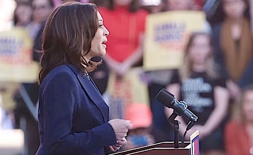 Kamala Harris announcing her candidacy for the presidency, on January 27, 2019. CC BY 3.0