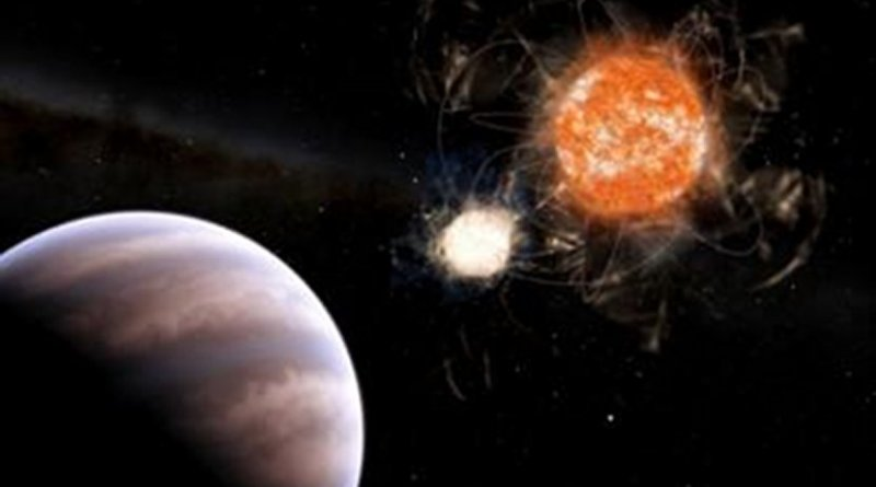 Brazilian researchers have identified robust signs of the existence of a giant object in the Cygnus constellation orbiting a binary system of a live star and a white dwarf. Credit Leandro Almeida