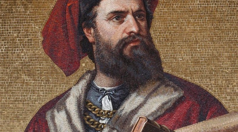 Mosaic of Marco Polo displayed in the Palazzo Doria-Tursi, in Genoa, Italy. Credit: Wikipedia Commons