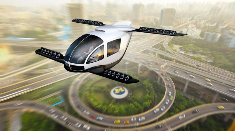 Artistic rendering of an electric vertical takeoff and landing taxi cruising through an urban center. Credit Dave Brenner/University of Michigan School for Environment and Sustainability