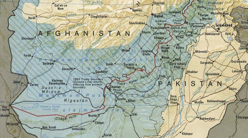 Detail of Durand Line Border Between Afghanistan And Pakistan. Credit: CIA World Factbook