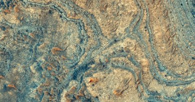 New research shows that a strange Martian mineral deposit, imaged here from orbit, was likely made by ashfall from ancient volcanic explosions. Credit NASA/Christopher Kremer/Brown University