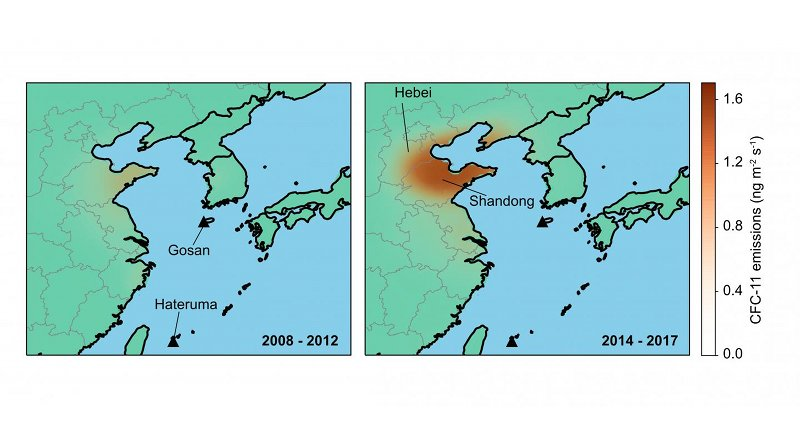 These are emissions inferred from atmospheric observations at Gosan and Hateruma monitoring stations show an increase from eastern China between the periods 2008 - 2012 (left) and 2014 - 2017 (right). The emission rise is primarily from Shandong and Hebei and surrounding provinces Credit University of Bristol