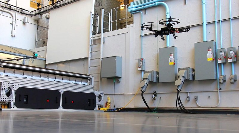 The Neural Lander system is tested in the Aerodrome, a three-story drone arena at Caltech's Center for Autonomous Systems and Technologies. Credit Caltech